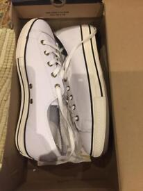 Brand new white leather converse trainers size 6.5