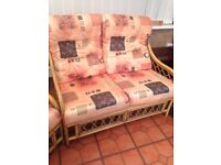 Cane furniture settee and two chairs, patio or conservatory