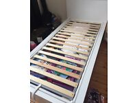 IKEA white single malm bed, storage and mattress for sale
