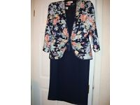 Navy Sweet Heart Neckline Dress, Below Knee Length, Matching Jacket Size 16 Nice Wedding Outfit