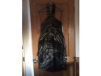 Dress halter neck with ra-ra skirts