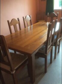 French Solid Oak Dining Table