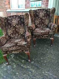 Pair of vintage wing back fireside Armchairs