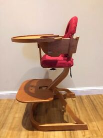 Svan Complete High Chair with Removable Tray in Cherry Wood