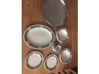 Steelite avacado hotel china and stainless steel serving dishes
