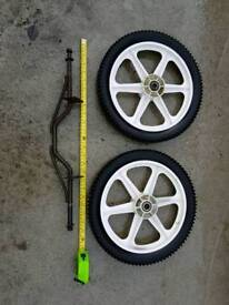 "Pair of 14"" wheels with axle"