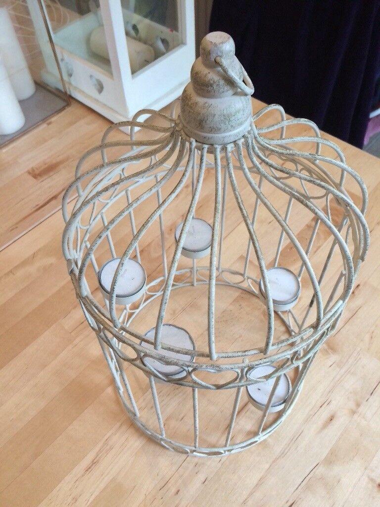 Vintage white bird cage tea light holder- medium size, ideal for table centre piece