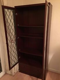 2 door glass showcase wardrobe for living room, hall way passage dinning great condition with draws