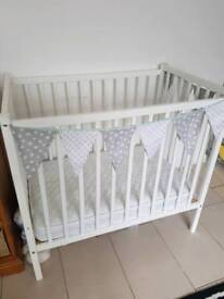 White baby cot kiddicare inc mattress