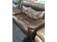 burgundy- brown leather 2/3 suite