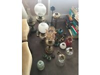 Oil lamps and loose lamps and shades