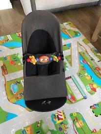 ### SOLD ### Babybjörn bouncer with organic cotton cover and wooden toy bar £70