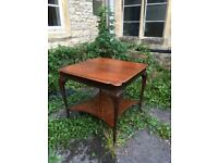 Pretty, Large Square Display Table with Under Shelf & Graceful Legs