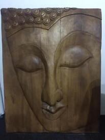 Wooden Carved Buddha Wall Art