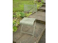 4 Wrought Iron Folding Chairs in Olive Green