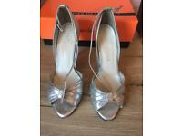 River Island Silver Heels - Size 5 - Part leather