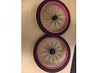 "Bmx wheels with tyres ruption rear hub 9t driver 20"" bike"