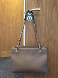 DKNY taupe handbag