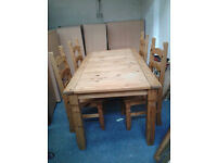 Corona Mexican Pine Dining Table & Set of 4 Ladderback Dining Chairs