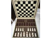 Chess board and chess pawns.
