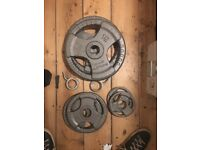 Olympic Bar + 2 x 15kg plates, 2 x 5kg plates, 2 x 1.25kg plates (GOLDS GYM)