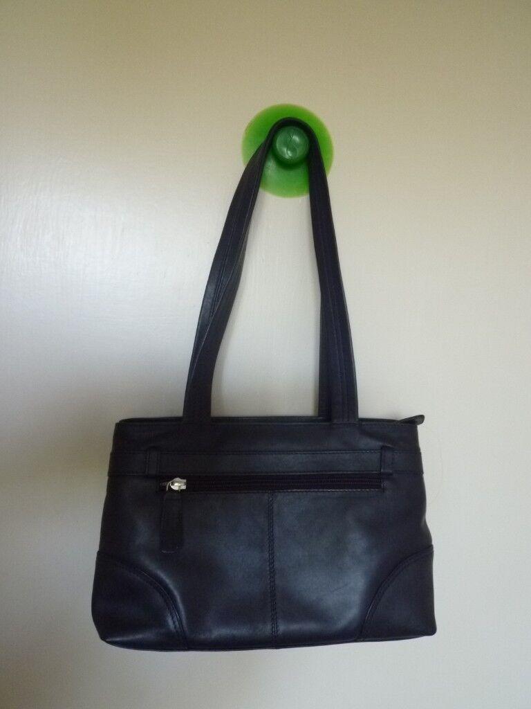 Hotter Leather Shoulder Handbag Dark Navy Blue