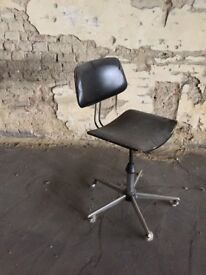 Industrial Factory Office Swivel Chair Chrome Vinyl Iconic Seating Rare Statement Furniture Seating