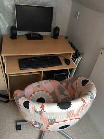 Desktop computer including speakers, desk & chair