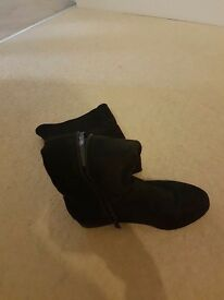Black suede over the knee boots size 3