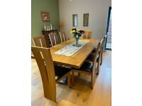 Attractive Modern Solid Oak Dining Table Set with 8 Chairs