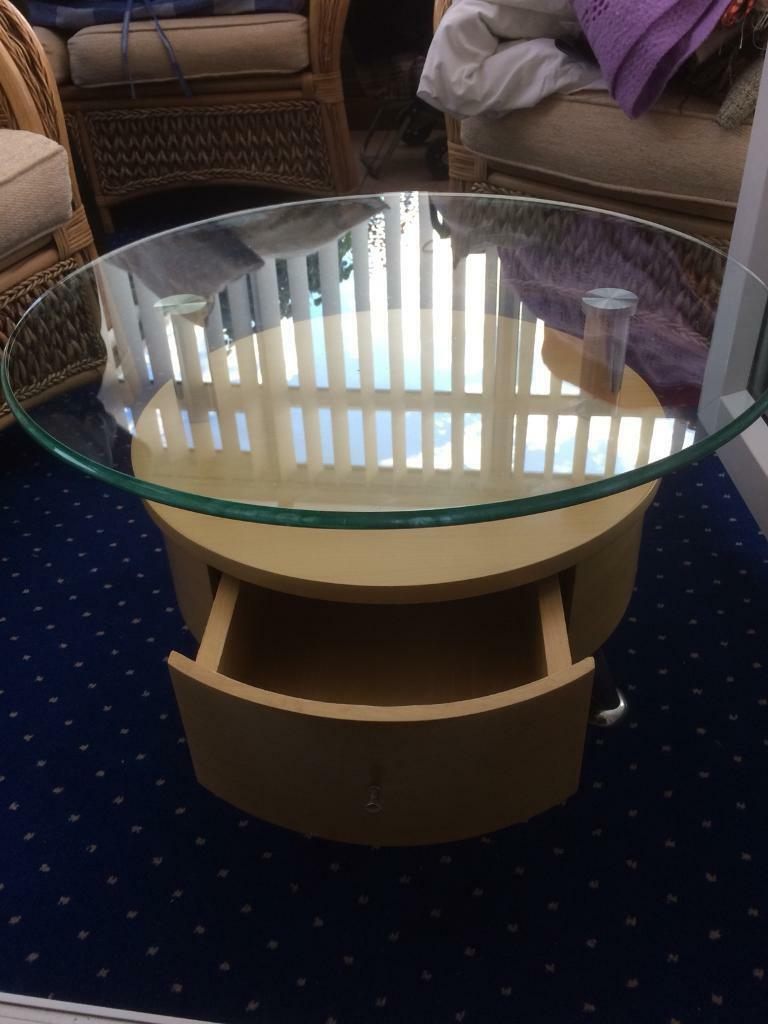 Dfs Round Glass Top Table With Drawer Excellent Condition Heavy Item Was 349 Want 35 No Offers