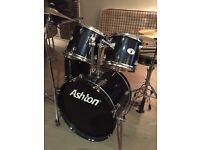 Ashton Drum Kit. 5 drums/ 2cymbals:stool. Navy blue