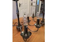 Pair of Five arm beautiful satin black chandeliers excellent condition