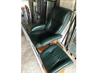 Leather recliner and stool