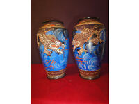 pair chinese cloisonne vases very attractive with beautiful designs size 13cm