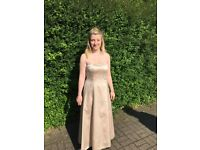 Size 8 and size 14 cappuccino satin bridesmaid dresses