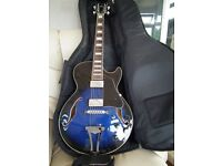 Ibanez AG75-TBS 12-01 Artcore Guitar. Blue/Black And Marshall Amp.