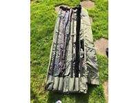 Fox frontier fishing rods and bag ultra rare