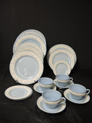 Four Place Settings * Wedgwood Queensware Blue Lavender & White