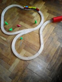 Wooden train track, engine,rolling stock trees tunnel + figures fits Brio bigjigs Thomas ELC Ikea
