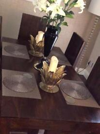 Dinning room table ,8 chairs and 2 side tables