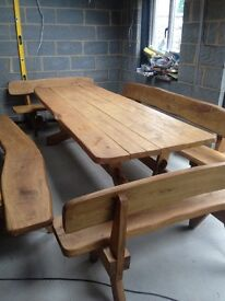 Oak table with benches