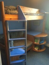 Stompa high sleeper bed with pull out desk and bed