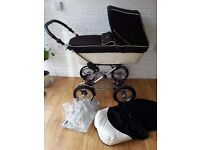 Black / cream Silver Cross Sleepover Elegance Classic pram pushchair ***can post***
