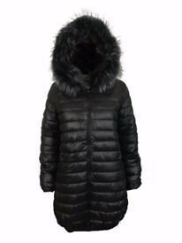 AMAVISSE UK - Women Clothes Fashion Reversible Puffy Long Parka Jacket Faux Fur Hood