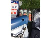 2x camping stoves, 3xgas canisters, 1 double air bed