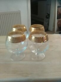 SET OF FOUR BRANDY/COCKTAIL GLASSES WITH GOLD ENGRAVING