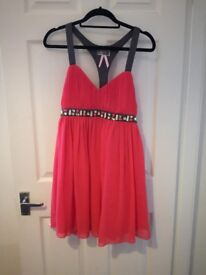 Coral pink and grey Lipsy London dress
