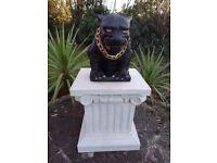 Gilt Bronze Style Gothic Hell Hound Dog Guardian Gargoyle Garden Statue & Plinth