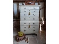 Rustic Georgian oak painted shabby chic chest on chest of 8 eight drawers